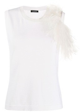 P.A.R.O.S.H. feather embellished knitted top - White