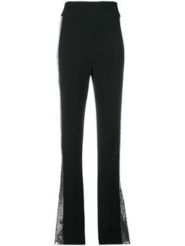 David Koma contrast sequin side trousers - Black