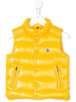 Moncler Kids logo patch embellished gilet - Yellow & Orange