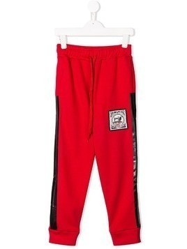 Les Bohemiens Kids side-striped track pants - Red