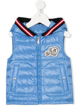 Moncler Kids knitted detail hooded gilet - Blue