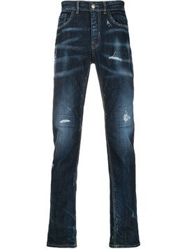 Frankie Morello distressed straight-leg jeans - Blue