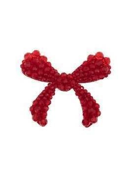 Simone Rocha red crystal embellished velvet bow brooch