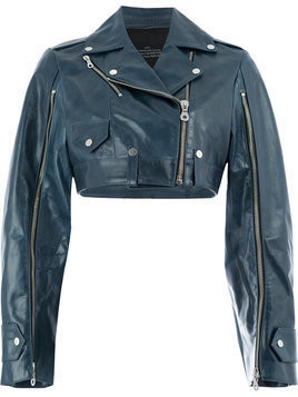 Rokh - cropped leather jacket - Damen - Calf Leather/Viscose - 36 - Blue