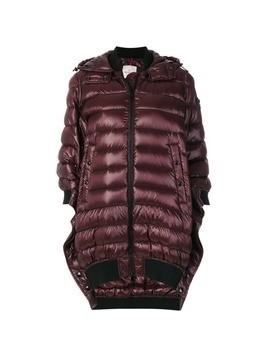 Moncler asymmetric hooded puffer jacket - Pink&Purple