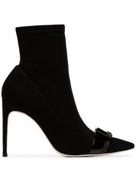 Sophia Webster black Andie 100 bow embellished suede boots