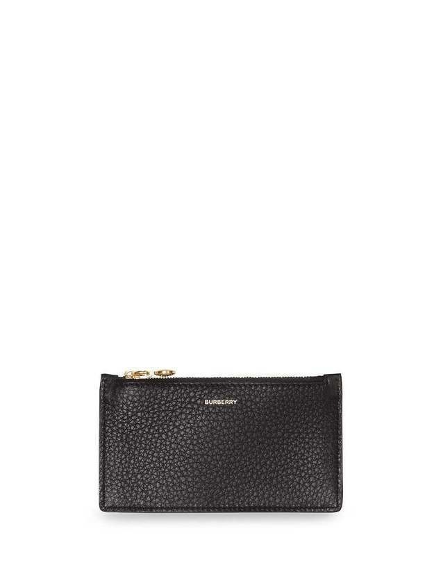 Burberry Leather Zip Card Case - Black