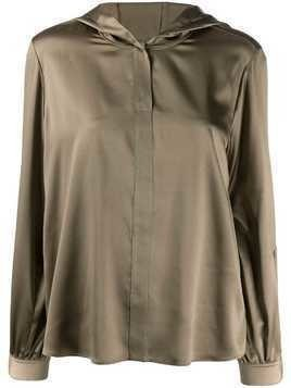 Luisa Cerano hooded button front blouse - Green