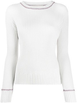 Marni contrasting stitching ribbed jumper - White