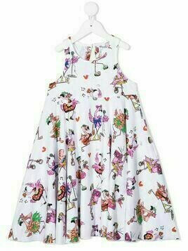Stella McCartney Kids flamingo print flared dress - White
