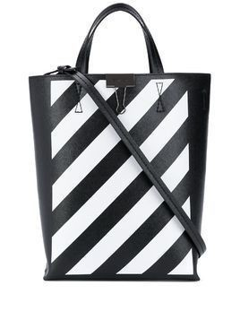 Off-White diagonal stripe leather tote bag - Black