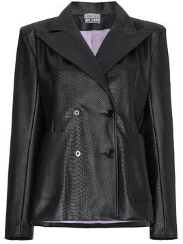 Ashley Williams Double breasted faux leather blazer - Black