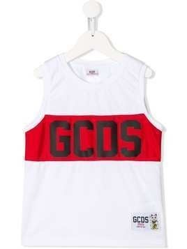 Gcds Kids sleeveless mesh logo print tank top - White