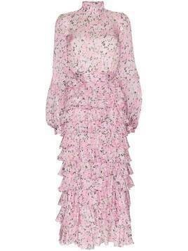 Giambattista Valli tiered ruffled floral-print silk maxi dress - PINK