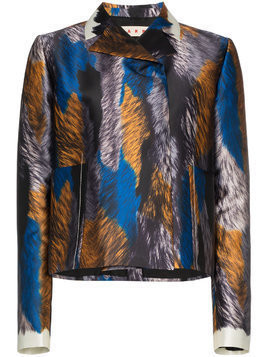 Marni printed cropped silk jacket - Multicolour