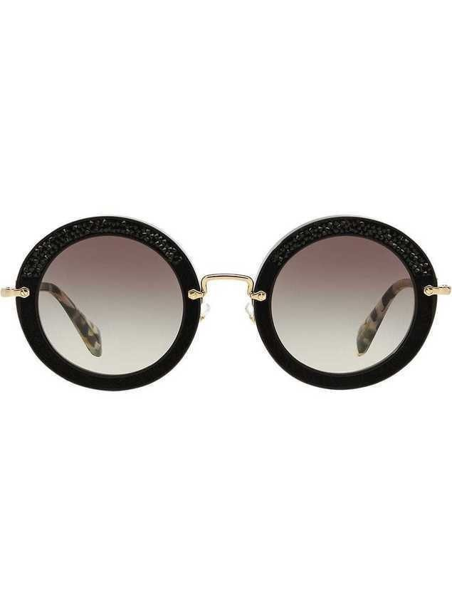 Miu Miu Eyewear embellished circle sunglasses - Black