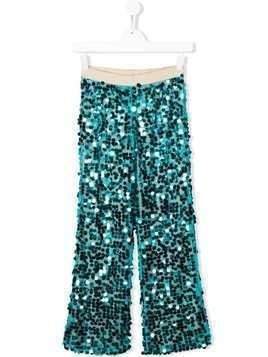 La Stupenderia sequinned wide leg trousers - Blue