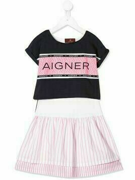 Aigner Kids logo print sweat dress - Blue