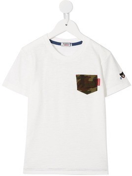 Miki House contrast short-sleeve T-shirt - White
