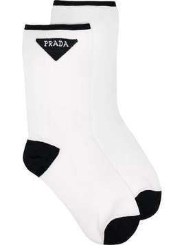 Prada white logo stitched socks