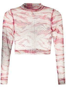 À La Garçonne printed turtleneck crop top - PINK