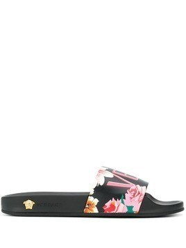 Versace logo printed slides - Black
