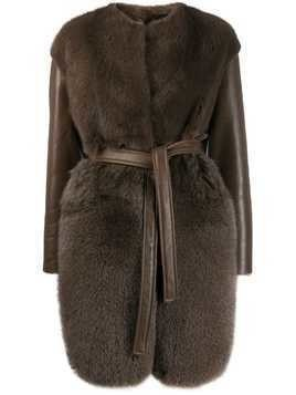 Blancha belted shearling coat - Brown
