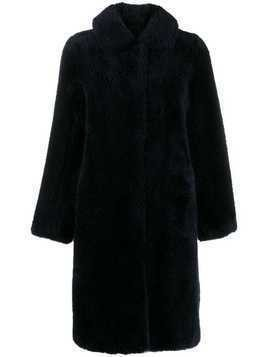Yves Salomon Meteo teddy bear coat - Blue