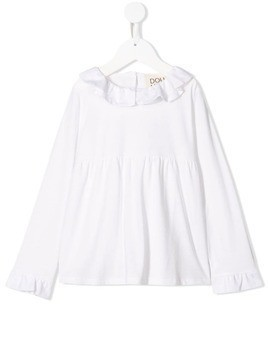 Douuod Kids frill-trim long-sleeve blouse - White
