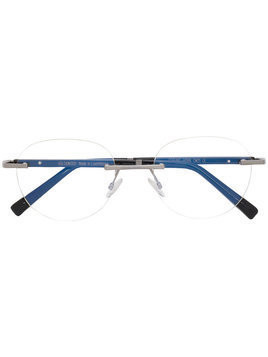 Gold And Wood round frame glasses - Black