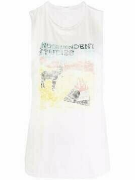 MOTHER graphic-print sleeveless T-shirt - White