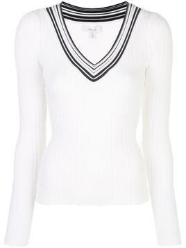 Milly Francesca striped neck jumper - White