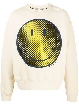 Marni smiley-print sweatshirt - Neutrals
