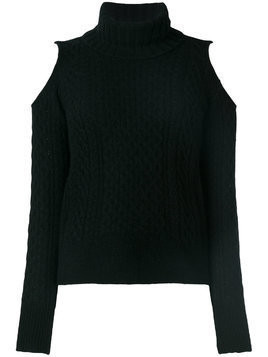 Theory cold shoulder turtleneck sweater - Black