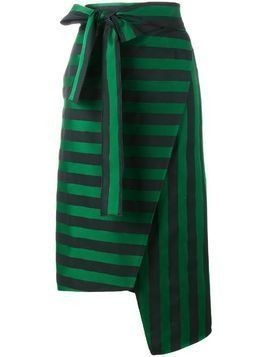 Rochas stripe asymmetric skirt - Green