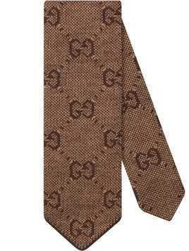 Gucci GG pattern tie - Brown