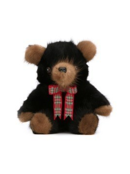 Liska mink fur teddy bear - Black