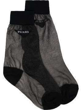 Prada Sheer Logo Socks - Black