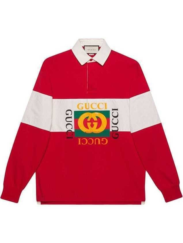 Gucci Oversize cotton polo with Gucci logo - Red