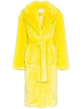 Tibi belted faux fur trench coat - Yellow & Orange