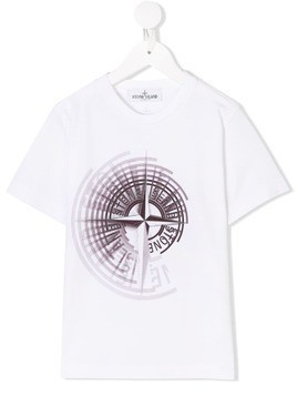 Stone Island Junior graphic logo print T-shirt - White
