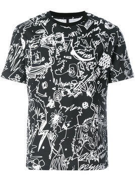 Versus - scribble print T-shirt - Herren - Cotton - XL - Black