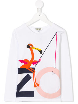 Kenzo Kids flamingo logo print T-shirt - White