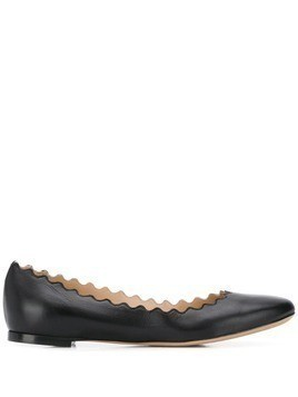 Chloé Lauren scalloped edge ballerinas - Black