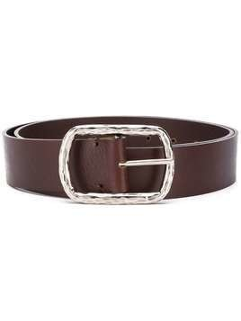 P.A.R.O.S.H. textured-buckle calf leather belt - Brown