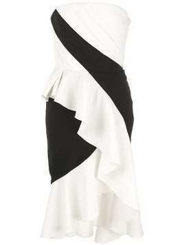 Marchesa Notte bandeau ruffle dress - White