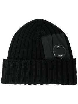 CP Company lens detail knitted hat - Black
