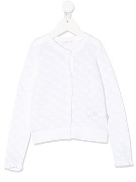 Billieblush open-knit heart motif cardigan - White