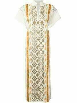 Tory Burch ribbon embellished caftan dress - Neutrals
