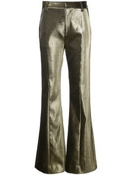 Area metallic threading flared trousers - Gold